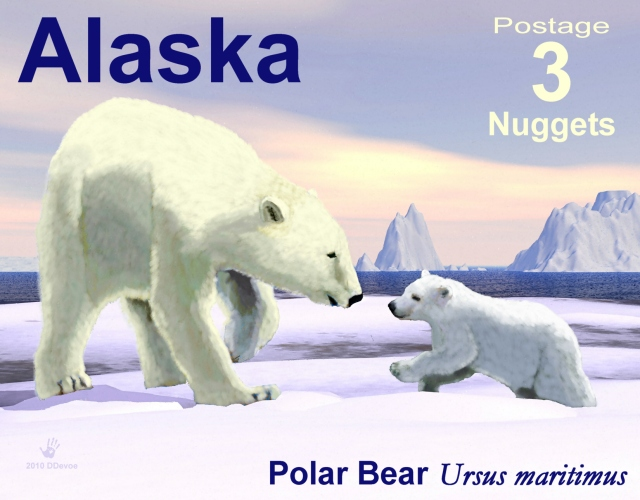 Polar bear sow and cub