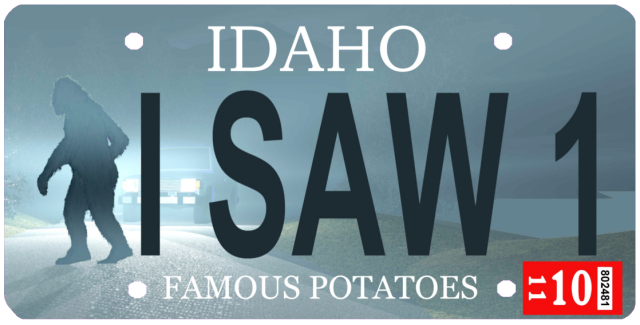 Idaho license plate featuring a Sasquatch, aka Bigfoot.
