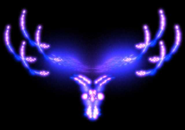 Fractal image of the hed of an antlered animals.