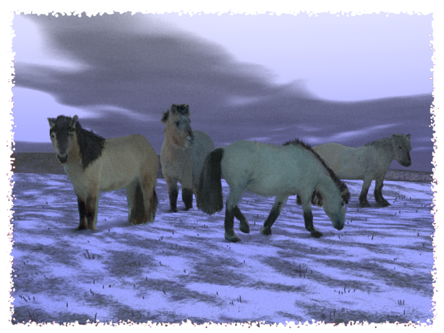 A digital painting of Yakutian horses