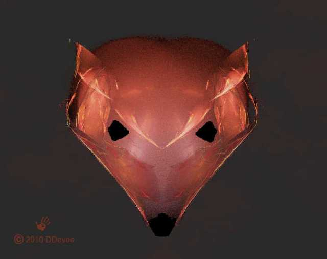 A fractal image which resembles a red fox.