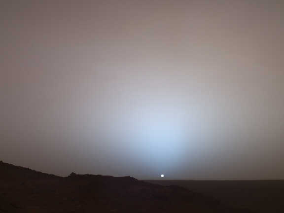 Sunrise as seen from the surface of Mars.