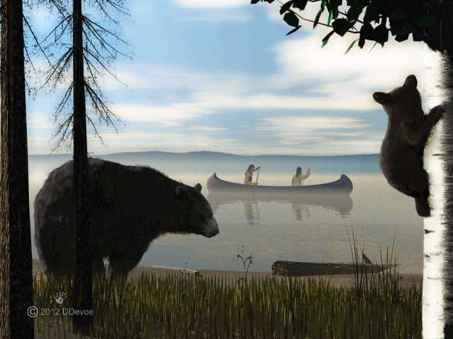 Black bears on a lake shore