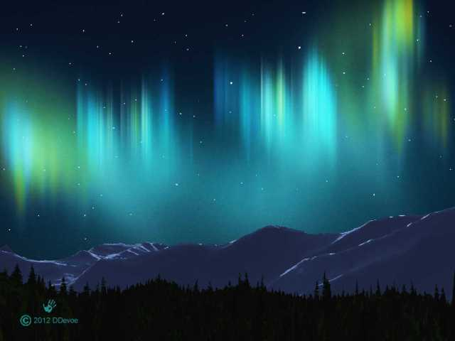 "Fractal rendering of the ""Northern Lights"""
