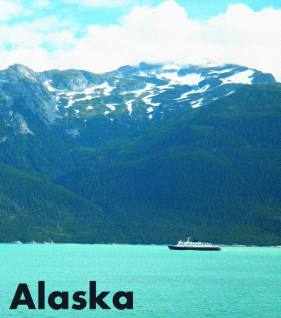 The Alaska Marine Highway System M/V Columbia nears Haines, AK