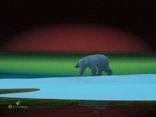 A Polar Bear hunts on the Arctic ice during the long, dark polar winter