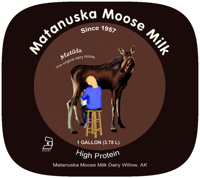 matanuska moose milk plastic jug label