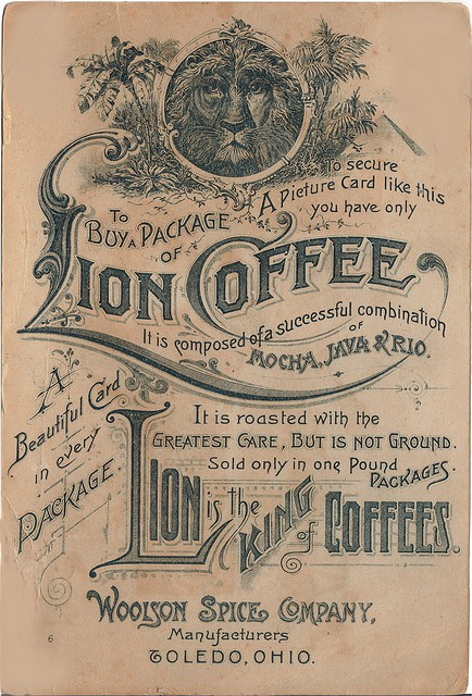 lion brand coffee label - circa 1870