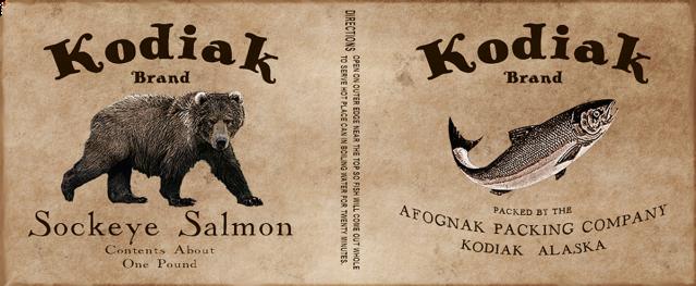kodiak brand canned sockeye salmon label