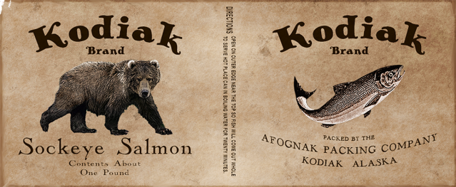 kodiak brand canned sockeye salmon label