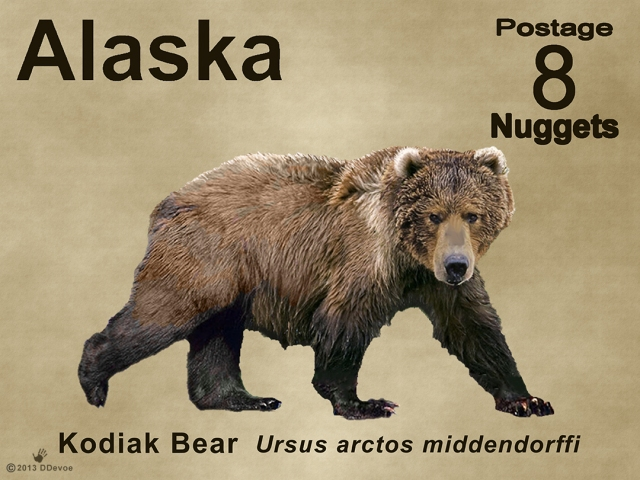 8-nugget alaska kodiak bear postage stamp
