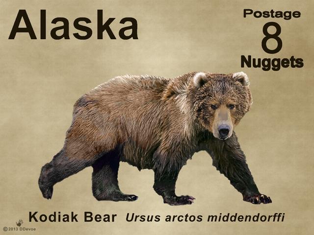 8-nugget alaska kodiak bear postage stamp