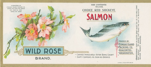 vintage wild rose canned salmon label