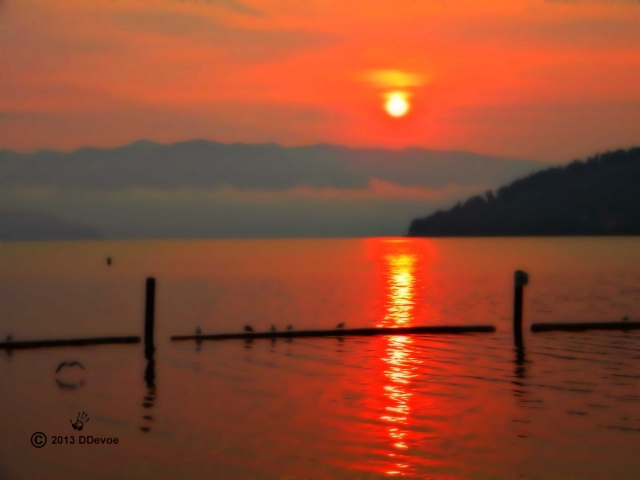 A very red sun rise on Lake Pend Oreille
