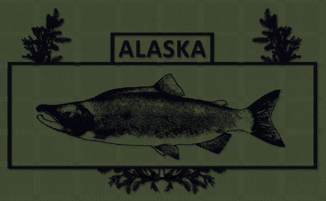 "a black and green, ""subdued"" embroidered varsion of the alaska combat fisherman badge"