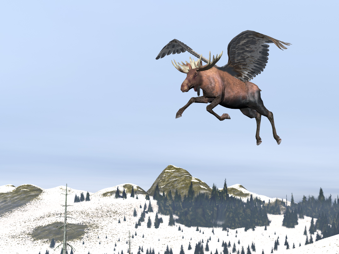 Flying Moose Alces Volanti