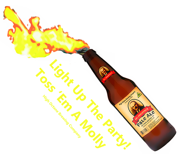 a flaming bottle of mr. molotov's pale ale