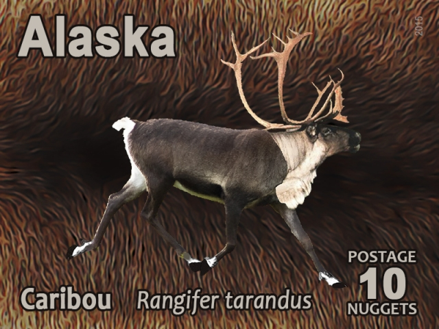 10-nugget alaska caribou postage stamp