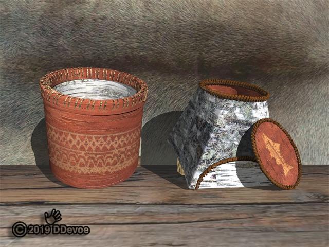3d rendered birch bark baskets